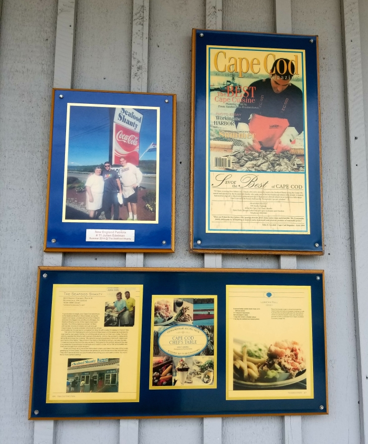 Plaques of famous visitors at The Seafood Shanty